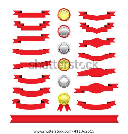 sets of medals red ribbon. - stock vector