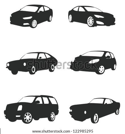Sets of silhouette cars and on the road vehicle icon in isolated background, create by vector. - stock vector