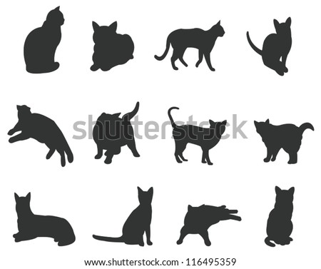 Sets of silhouette cats icon set, in various actions, create by vector - stock vector