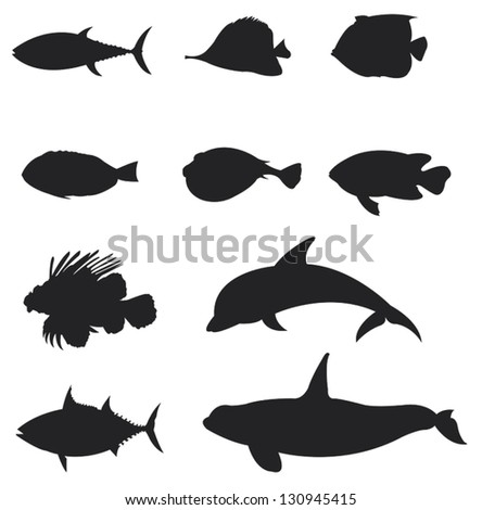 Sets of silhouette Fishes 2, create by vector - stock vector