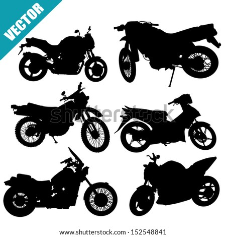 Sets of silhouette motorcycles on white background, vector illustration - stock vector