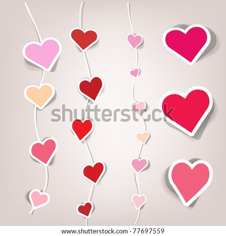 sets of stickers in the form of hearts - stock vector