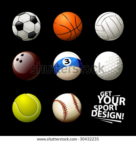 Sett of realistic balls on white background - stock vector