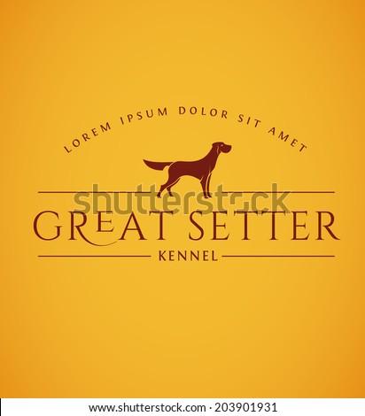 Setter Dog Emblem. Vintage Dog Logo. Hunting Dog Vector Icon - stock vector