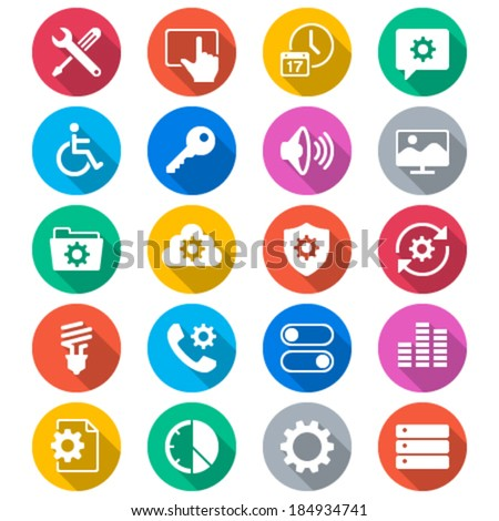 Setting flat color icons - stock vector
