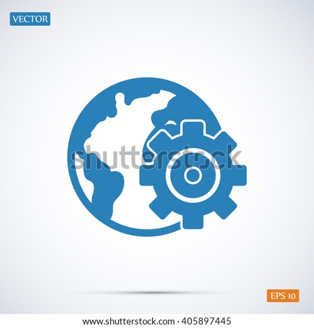 setting parameters, globe Icon - stock vector