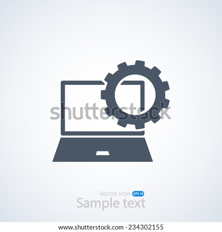 setting parameters, laptop icon, vector illustration. Flat design style - stock vector