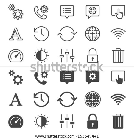 Setting thin icons, included normal and enable state. - stock vector