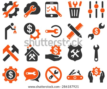 Settings and Tools Icons. Vector set style: bicolor flat images, orange and gray colors, isolated on a white background. - stock vector