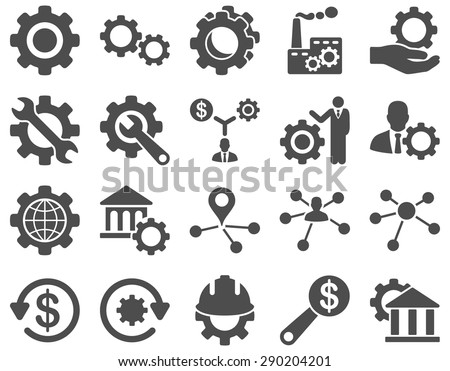 Settings and Tools Icons. Vector set style: flat images, gray color, isolated on a white background. - stock vector