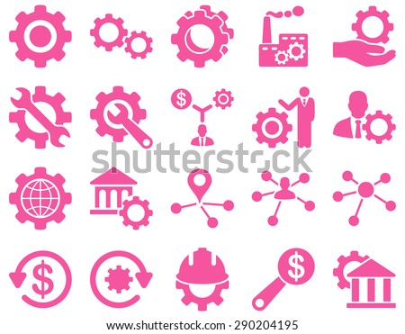 Settings and Tools Icons. Vector set style: flat images, pink color, isolated on a white background.