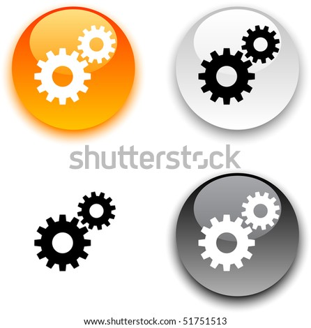 Settings glossy round vector buttons. - stock vector