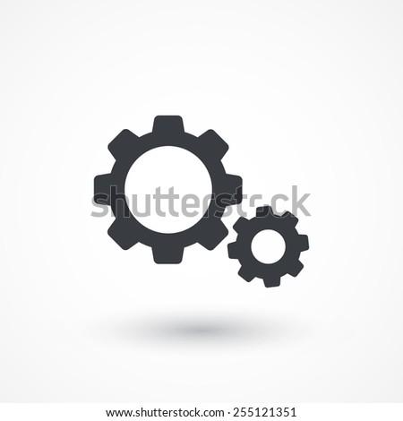 Settings icon. Cogwheel, gear button. Flat style design - stock vector