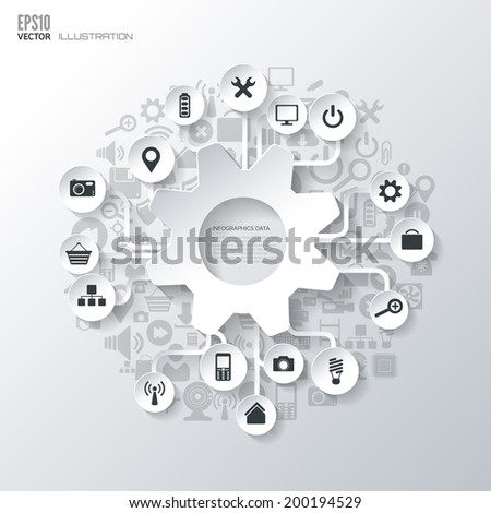 Settings icon. Flat abstract background with web icons. Interface symbols. Cloud computing. Mobile devices.Business concept. - stock vector