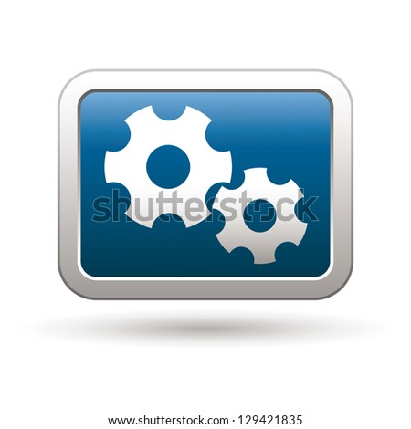 Settings icon on the blue with silver rectangular button. Vector illustration - stock vector