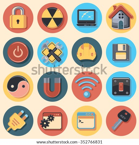 Settings icon set - stock vector