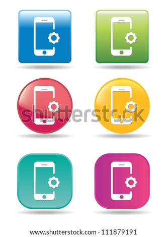 Settings mobile phone icons - stock vector