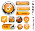 Settings orange design elements for website or app. Vector eps10. - stock vector