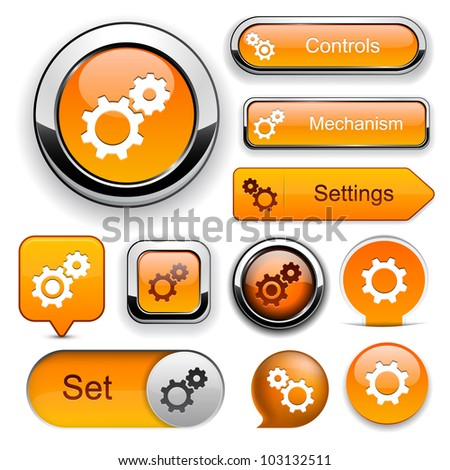 Settings orange design elements for website or app. Vector eps10. - stock vector
