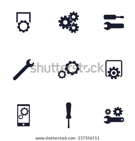 settings, preferences flat icons vector illustration, eps10, easy to edit - stock vector