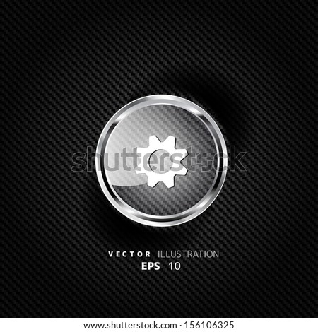 Settings web icon, flat design - stock vector