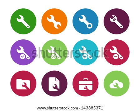 Settings Wrench circle Icons isolated on white. Vector Illustration. - stock vector
