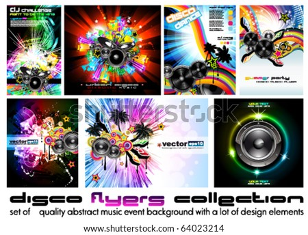 Seven Abstract Music Background for Discoteque Flyer with a lot of design elements - Set 6 - stock vector