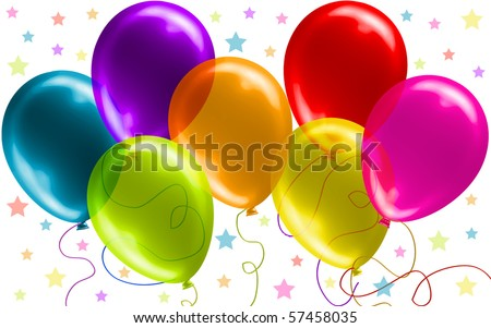 Seven Beautiful Party Balloons, no transparency version in my gallery - stock vector