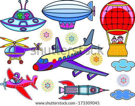 Seven cartoon flying vehicles - stock vector