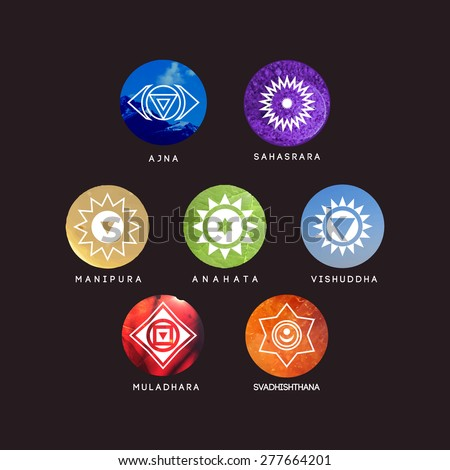 Seven chakras on the color background. .It can be used to design logos as posters and tattoos. For ayurvedic clinics and yoga studios. - stock vector