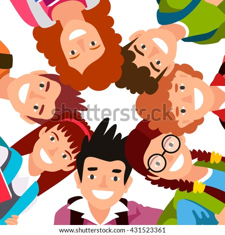 Seven children stand in a circle. The concept of a school friendship. Boys and girls students. Vector illustration on white background. - stock vector