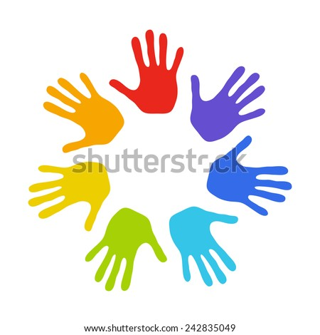 Seven colorful hands. Rainbow - stock vector