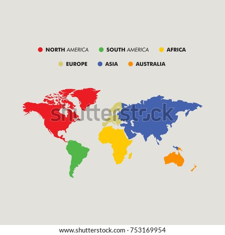 Seven continents map national borders asia stock vector 753169954 seven continents map with national borders asia africa north and south america publicscrutiny Images
