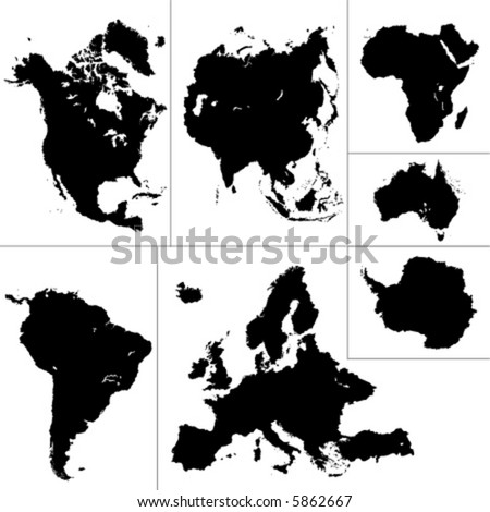 seven continents vector - stock vector