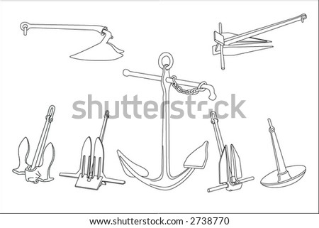 Seven different realistic types of anchors in black and white vector.