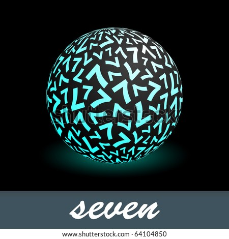 SEVEN. Globe with number mix. Vector illustration.