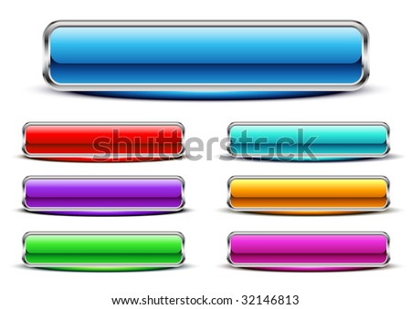 Seven glossy buttons. Vector. - stock vector