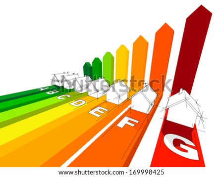 seven houses certified in seven energetic classes in a business diagram - stock vector
