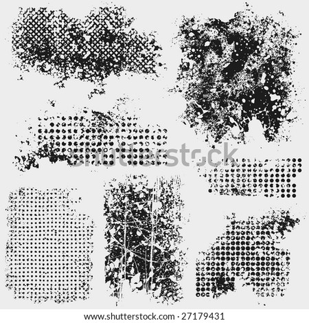 Seven messy grunge textures for your design. Take a look at my portfolio for more design elements! - stock vector