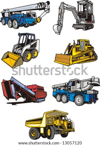 Seven multi-coloured building cars. Construction machinery. Vector illustration - color + b/w versions. - stock vector