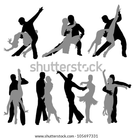 seven pairs of athletic dancers dancing on a white background - stock vector