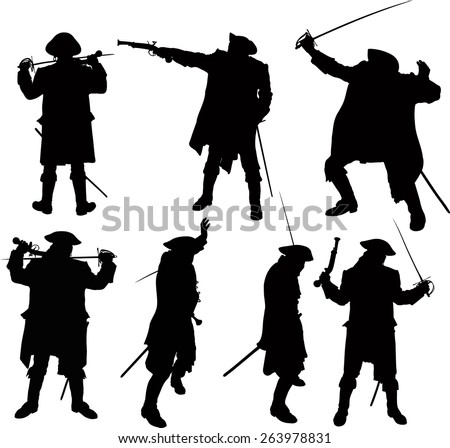 seven silhouettes of pirate with sword and pistol in cardigan and hat - stock vector