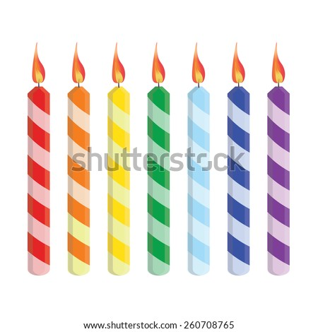 Seven striped birthday candles red, orange, yellow, green, blue, purple, vector set isolated - stock vector