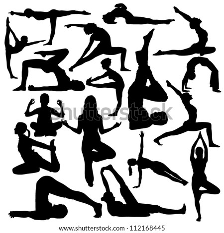 Seventeen silhouettes of famous yoga positions isolated on a white
