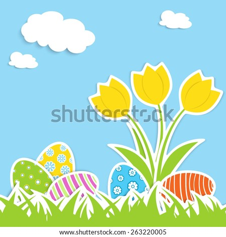 several colorful eggs and three tulips in green grass, blue sky and white clouds on background, applique vector illustration