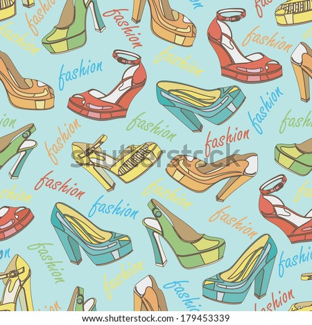 Several colorful  fashion women's high heel shoes with word fashion in seamless pattern,ornament, background,fabric,Wallpaper,wrapping paper.Casual and festive.Retro style.Fashion illustration,vector