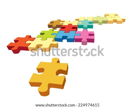 Several colorful pieces of jigsaw puzzle over a white background. - stock vector