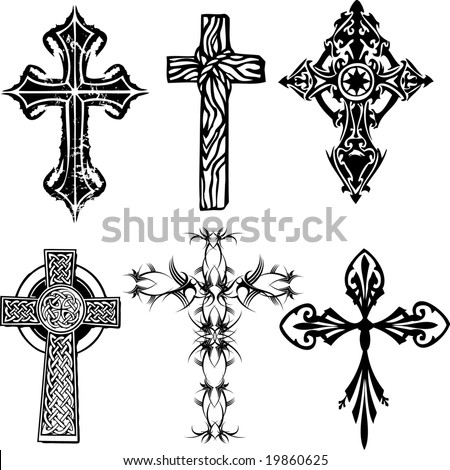Several cross vectors - stock vector