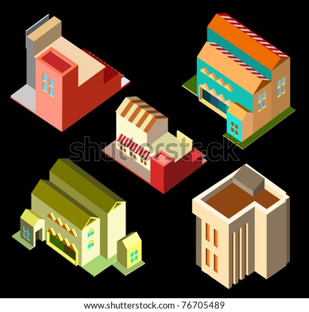 several isometric building - stock vector