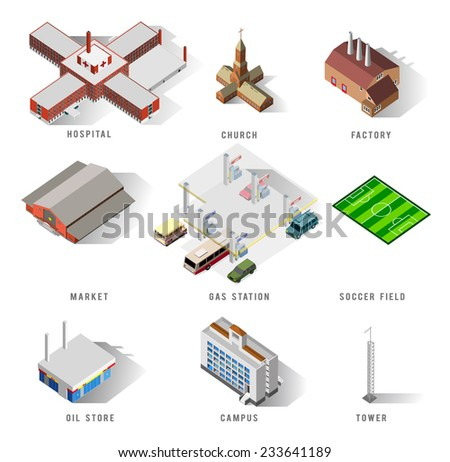 several isometric building set. detailed vector illustration - stock vector